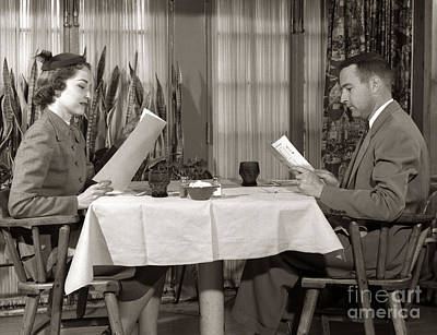 Photograph - Couple Reading Menus, C.1950s by H. Armstrong Roberts/ClassicStock