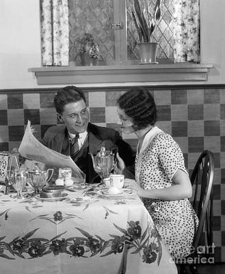 Photograph - Couple Reading Paper At Breakfast by H. Armstrong Roberts/ClassicStock