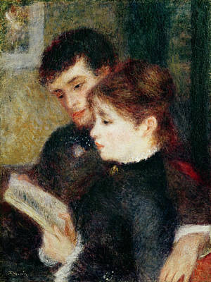 Library Painting - Couple Reading by Pierre Auguste Renoir