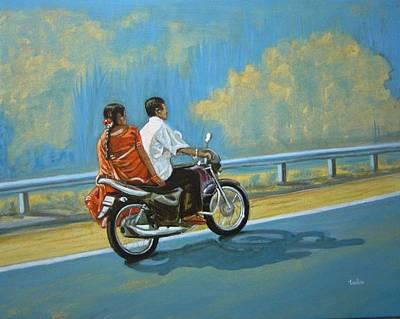 Sarees Painting - Couple Ride On Bike by Usha Shantharam