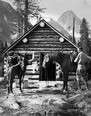 Couple Saddling Horses, C.1920s Art Print