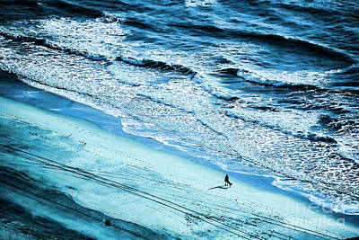 Photograph - Couple Sandy Beach Winter Atlantic Ocean  by Chuck Kuhn