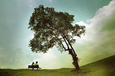 Couple Sitting Under The Tree Art Print by Cho Me