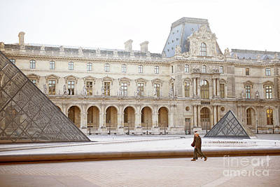 Pyramid Of The Sun Photograph - Couple Strolling At Louvre Museum  by Ivy Ho