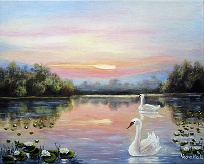 Painting - Couple Swans by Vesna Martinjak