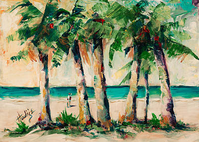 Couple Under Palm Trees Art Print by Mary DuCharme