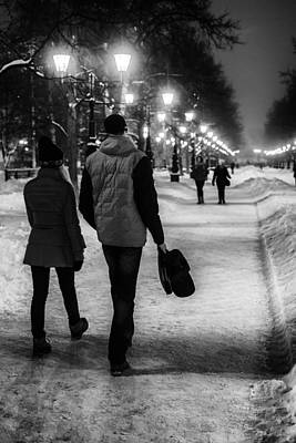 Photograph - Couple Walking At Night by John Williams