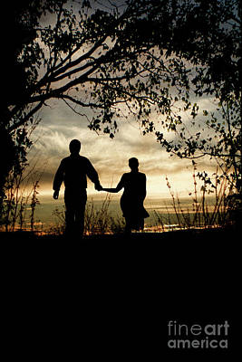 Photograph - Couple Walking At Sunset by Clayton Bastiani