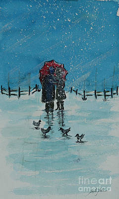 Painting - Couple Walking In Snow by Pati Pelz