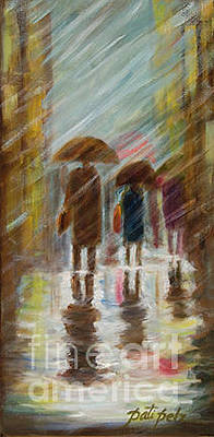 Painting - Couple Walking In The Rain by Pati Pelz