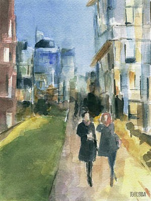 Chelsea Painting - Couple Walking On The New York High Line by Beverly Brown