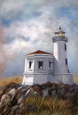 Lighthouse Wall Art - Painting - Couquille River Lighthouse  Bandon Ore. by Lynne Parker