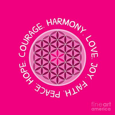 Faithful Digital Art - Courage. Love. Harmony. Joy. Faith. Peace. Hope.  by Liesl Marelli