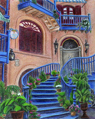 Angel Blues Drawing - Court Of Angels At Disneyland by Kristen Fogarty