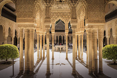 Byzantine Photograph - Court Of The Lions - Alhambra Palace - Granada Spain by Jon Berghoff