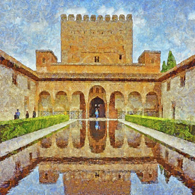 Digital Art - Court Of The Myrtles - Patio De Los Arrayanes by Digital Photographic Arts