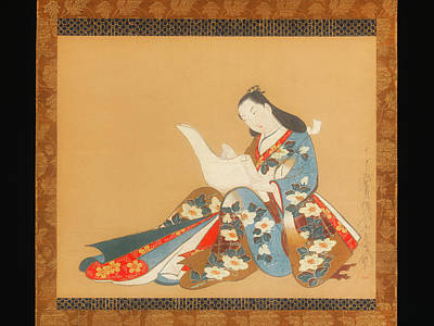 On Silk Painting - Courtesan Writing A Letter by Kaigetsudo