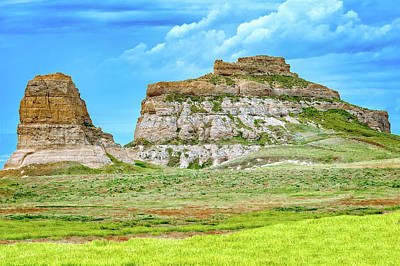 Photograph - Courthouse And Jail Rocks  -  Nebraska  -  001 by Frank J Benz