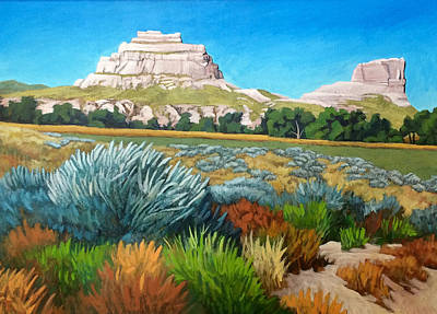 Painting - Courthouse And Jail Rocks 2 by Dan Miller