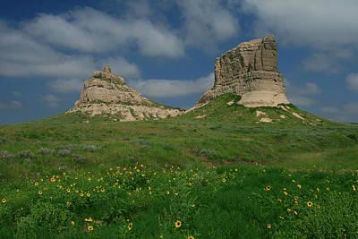 Courthouse Rock Photograph - Courthouse And Jail Rocks Near Bridgeport Nebraska by Garry McMichael