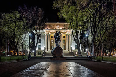 Photograph - Courthouse At Night Prescott Arizona by Glenn DiPaola