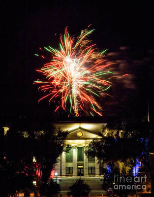 Photograph - Courthouse Fireworks by Scott Kemper