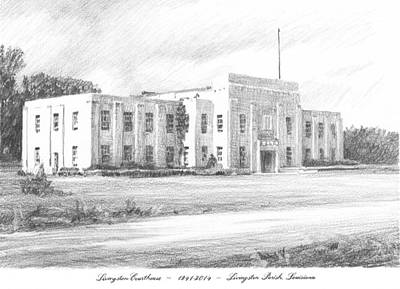 Courthouse Four Livingston Parish La Drawing Art Print by Mike Theuer
