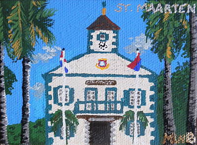St. Maarten Painting - Courthouse In Philipsburg by Margaret Brooks