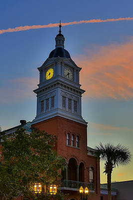 Photograph - Courthouse Steeple At Night by Paula Porterfield-Izzo