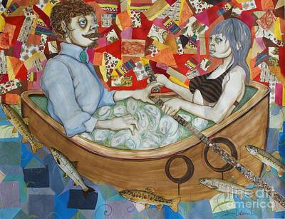 Rowboat Mixed Media - Courting By Sea by Dennis Osborne