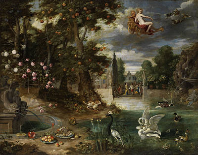 Swans... Painting - Courtly Celebration In A Lustgarten by Jan Brueghel the Younger