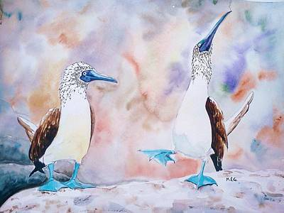 Boobies Painting - Courtship Dance by Maria Gronlund