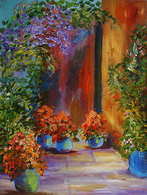 Painting - Courtyard And Flowers by Mary Jo Zorad