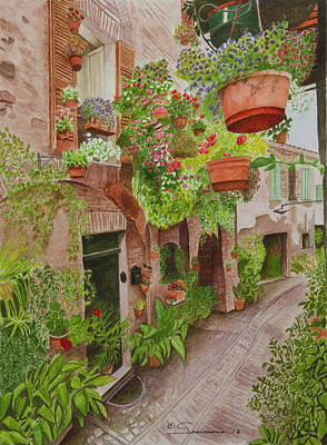 Hanging Baskets Painting - Courtyard by C Wilton Simmons Jr