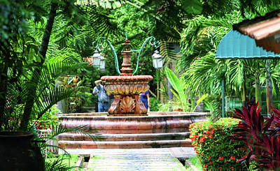 Courtyard Fountain  Art Print by Chuck Kuhn