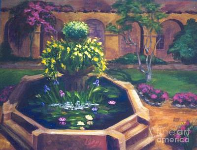 Painting - Courtyard Fountain by Pat Heydlauff