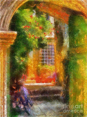 Digital Art - Courtyard In Cavtat by Lois Bryan