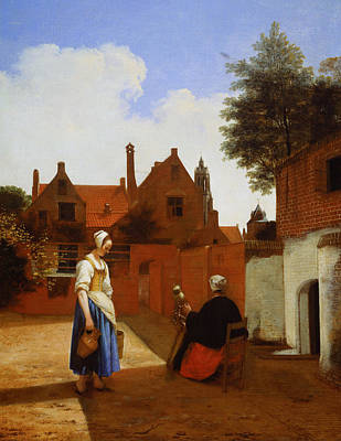 Backyard Painting - Courtyard In Delft At Evening, A Woman Spinning by Pieter de Hooch