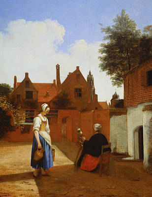 Painting - Courtyard In Delft At Evening by Pieter de Hooch