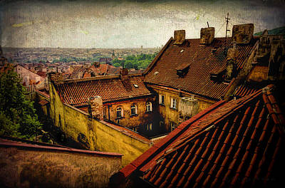 Courtyard In Prague Art Print by Robert Meyerson