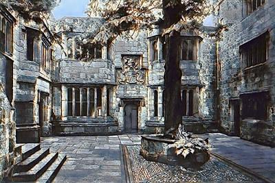 Art Print featuring the digital art Courtyard Of Skipton Castle by Pennie McCracken