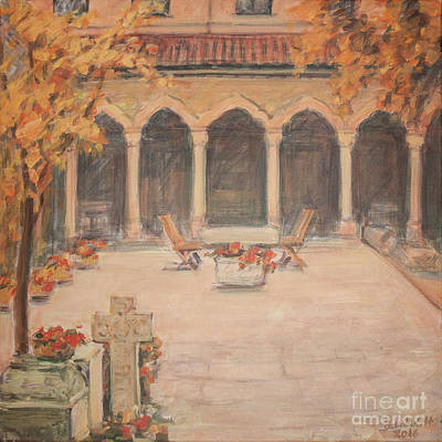 Art Print featuring the painting Courtyard Of Stravopoleos Church by Olimpia - Hinamatsuri Barbu