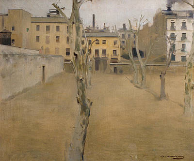 Spanish Art Painting - Courtyard Of The Old Barcelona Prison by Ramon Casas