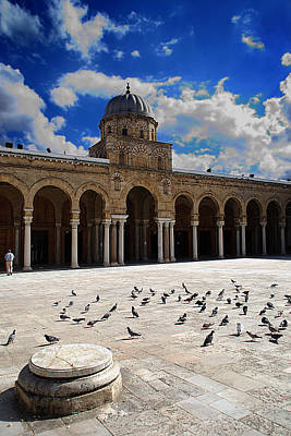 Photograph -  Courtyard Of The Zitouna Mosque by Habib M henni