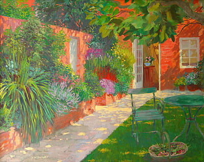 Green Path Painting - Courtyard  by William Ireland