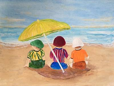 Painting - Cousins At The Beach by Anne Sands