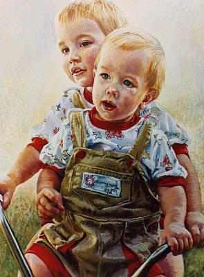 Childrens Portraits Pastel - Cousins by Jean Hildebrant