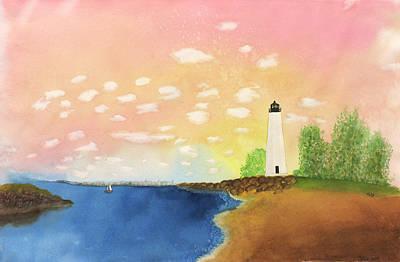Skylandscape Painting - Cove Point Lighthouse by Midge Lilja