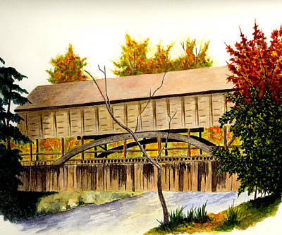 Youngstown Ohio Painting - Covered Bridge - Mill Creek Park by Michael Vigliotti