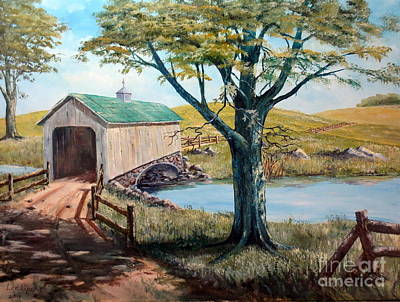 Covered Bridge, Americana, Folk Art Art Print by Lee Piper